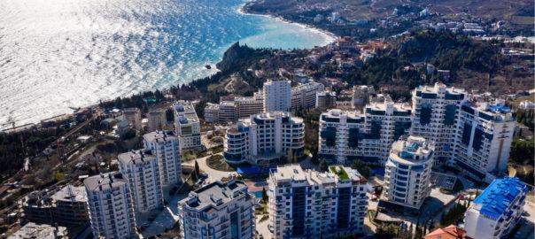 Newly-built apartment blocks in Crimea